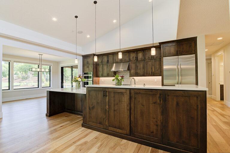 Kitchen view of Doriot Construction's 2019 Mid Century Modern Build in Felida, WA