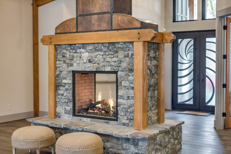 Timberline fireplace with two stools
