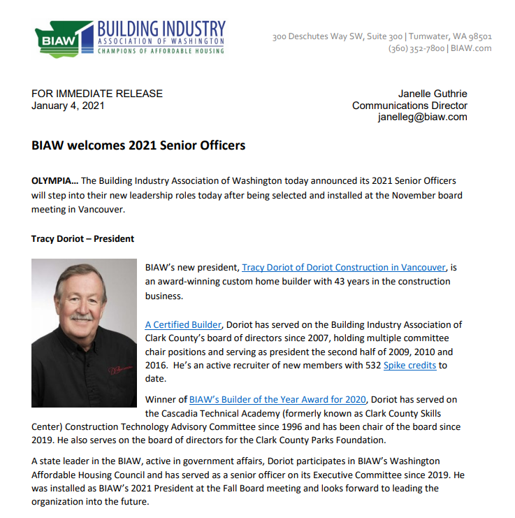 screen shot of the biaw press release for doriot construction