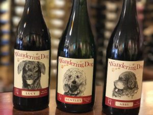 wandering dog wine bottles