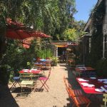 Spacious courtyard at the Corkscrew Cafe