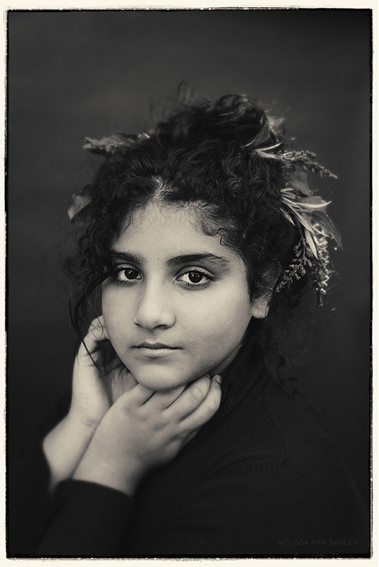 black and white Portrait of Young Woman by Melissa Ann Bagley