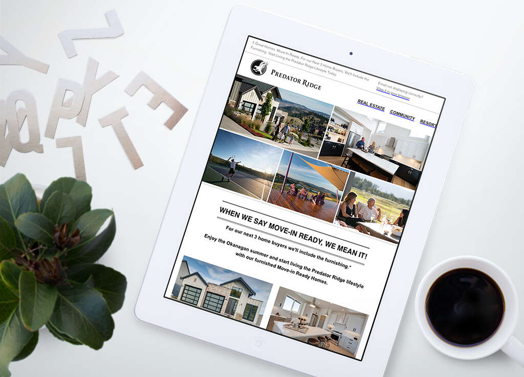 Digital Marketing email campaign mockup on iPad