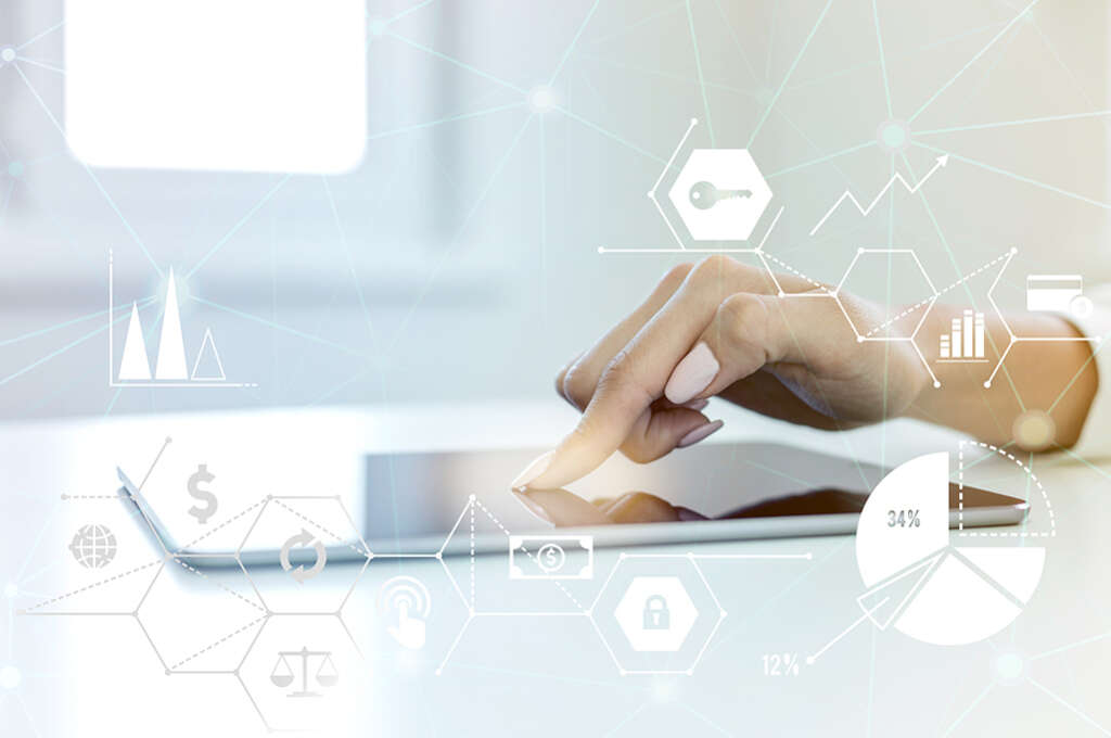 Digital Marketing Female hand using digital tablet