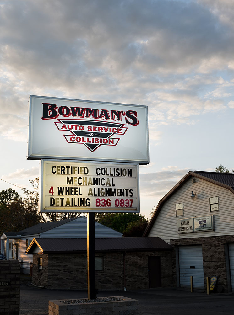 Bowman's Sign in front of shop