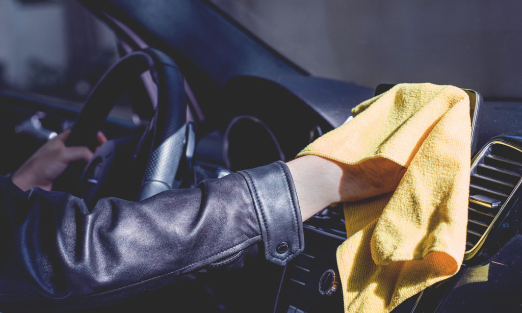Cleaning dash with a soft cloth