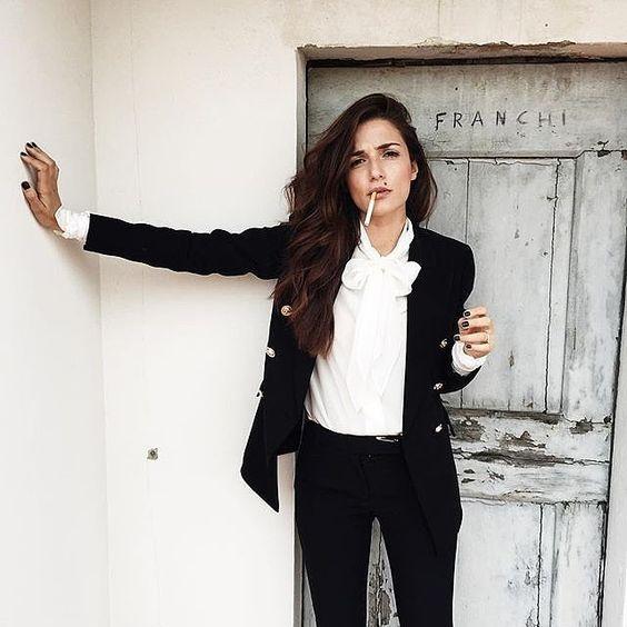 Pussy bow blouse under blazer | Girlfriend is Better