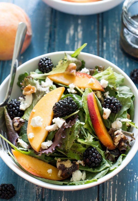 blackberry chèvre salad recipe | peach arugula healthy | Girlfriend is Better