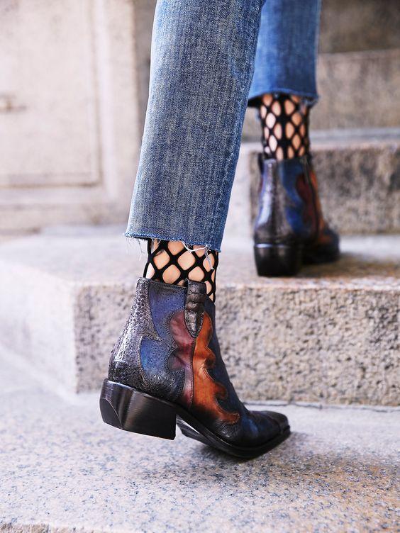 Fishnet stockings under cropped jeans | Girlfriend is Better