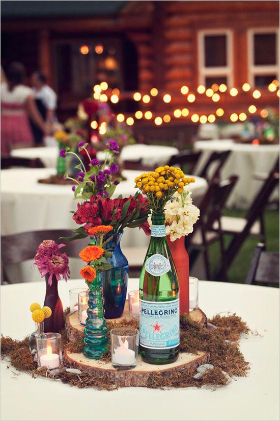 table settings bohemian eclectic   Utah floral arrangement barn colored bottles   Girlfriend is Better