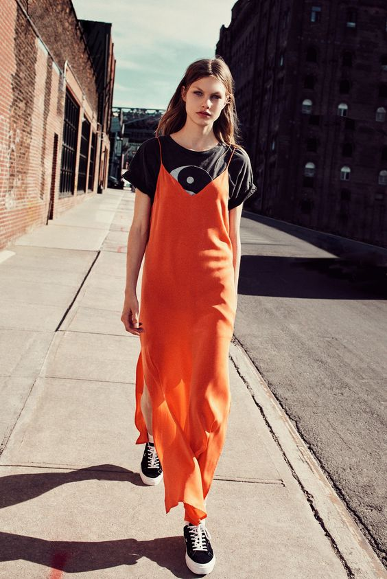 Layer a slip dress with a graphic tee   Girlfriend is Better