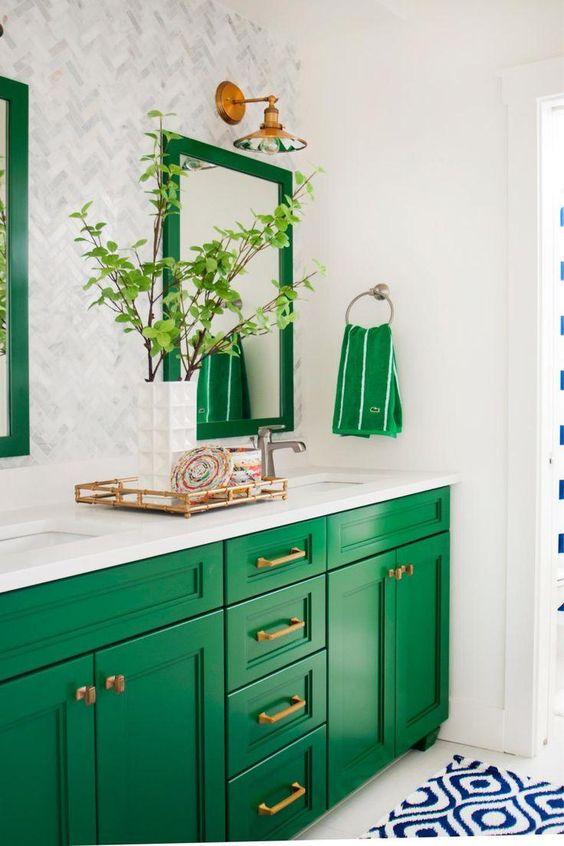 Kelly green bathroom cabinets   Bathroom decor   Girlfriend is Better