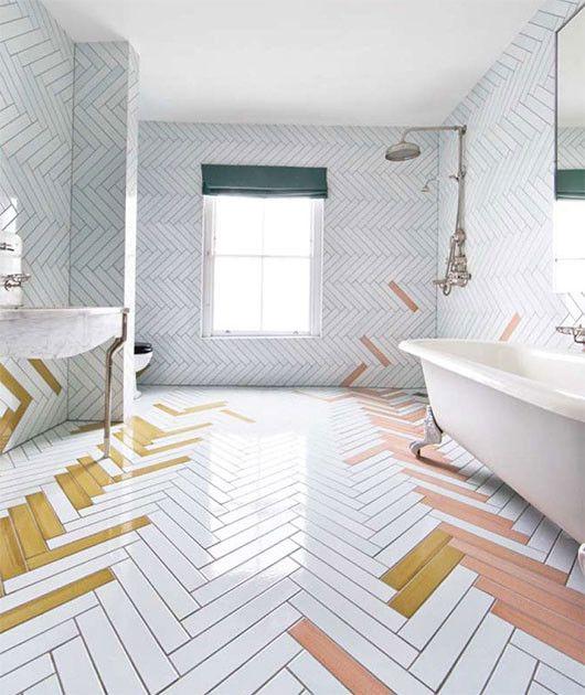Mismatched herringbone tiles in bathroom   Girlfriend is Better