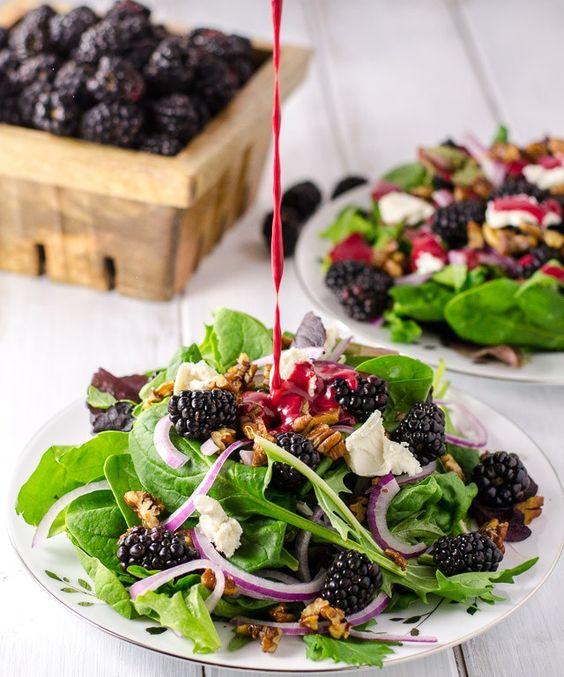 Blackberry Chèvre Salad | red onion arugula raspberry vinaigrette | Girlfriend is Better