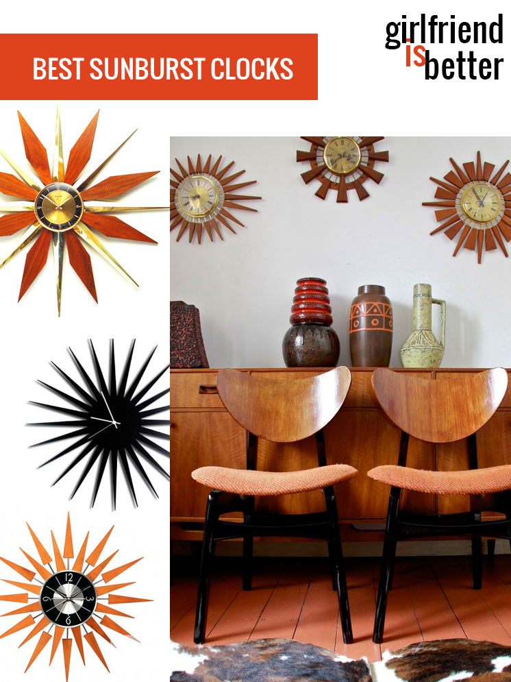 Mid-century modern | Starburst clocks + sunburst clocks | Girlfriend is Better