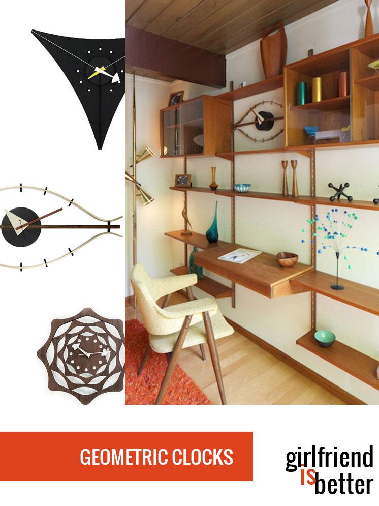 Mid-century modern geometric clocks | Girlfriend is Better