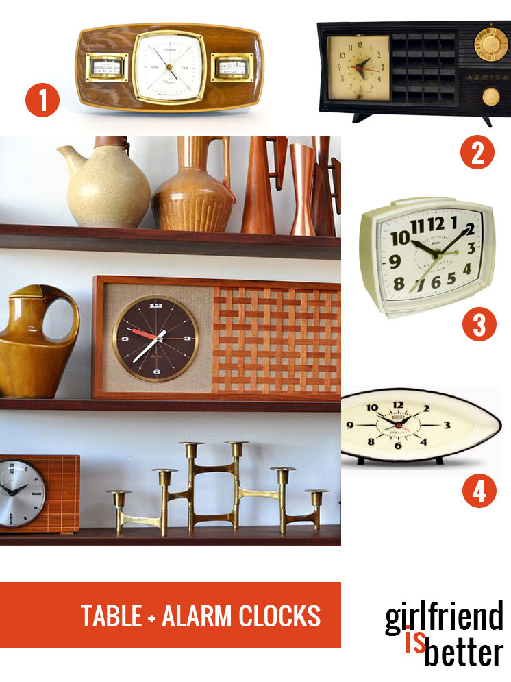 Mid-century modern table clocks + alarm clocks | Girlfriend is Better