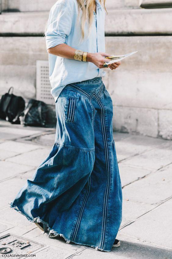 Denim maxi skirt   Paris fashion week Spring 2017   Girlfriend is Better