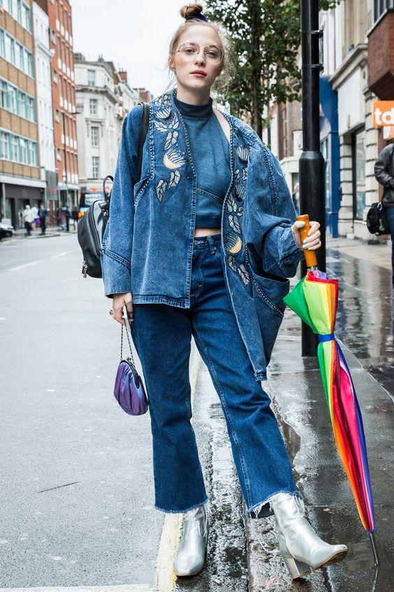 Head-to-toe denim   London Fashion Week street style Spring 2017   Girlfriend is Better