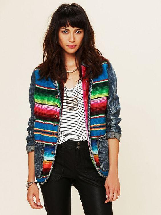 Free People Mexican Blanket Jacket   Embellished jackets  