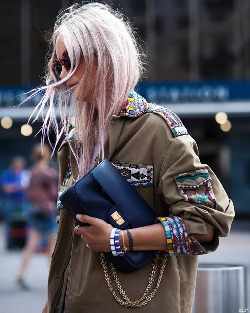 Embroidered details and chains beef up a military jacket   Embellished jackets   Girlfriend is Better