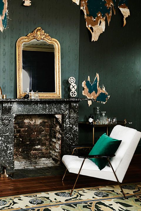Chic and cozy fireplace treatment | add an ornate mirror for good Feng Shui | Girlfriend is Better