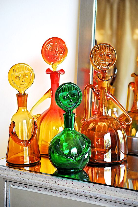 Vintage Blenko #6525 lady with face decanters designed by Wayne Husted   Girlfriend is Better
