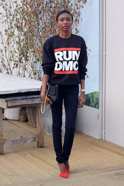 Run-DMC sweatshirt   90's hip-hop fashion   Girlfriend is Better
