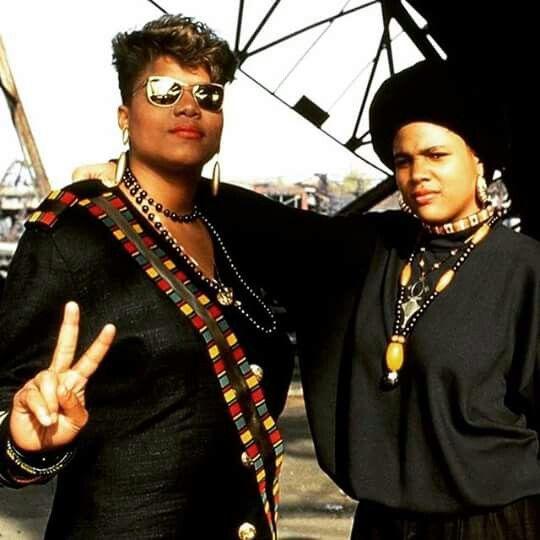 Queen Latifah + Monie Love   Strong black women hip-hop fashion from the 90's   Girlfriend is Better