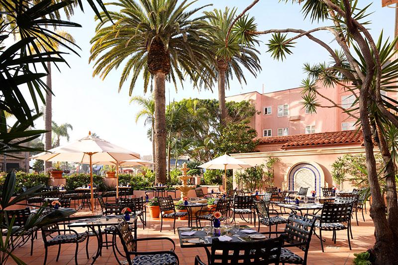 La Valencia Hotel garden terrace   La Jolla California travel guide   Girlfriend is Better