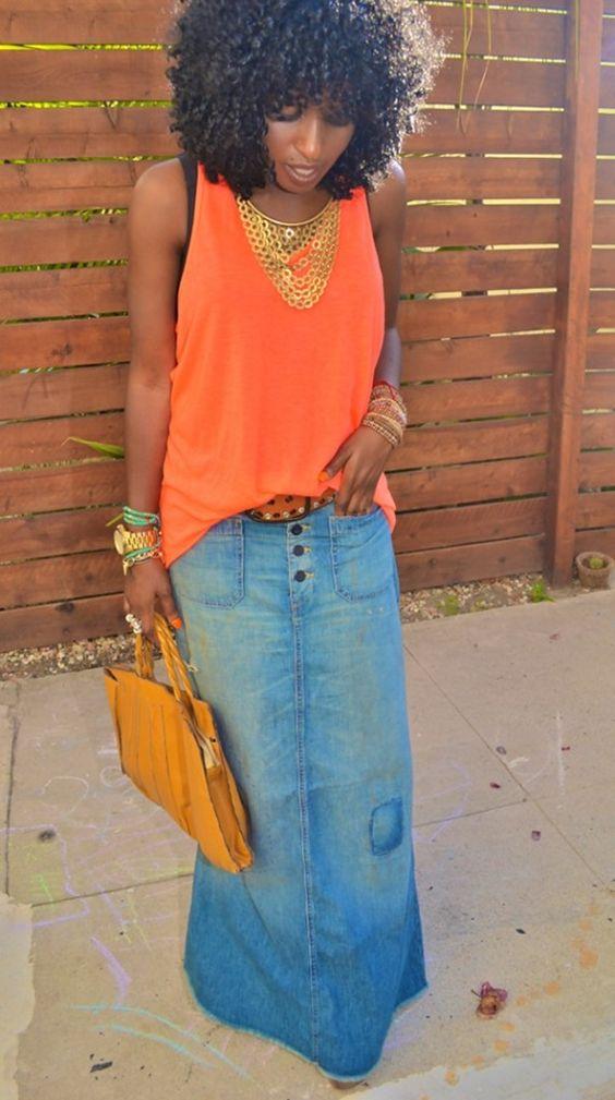 Denim maxi skirts make your legs super long!   Girlfriend is Better