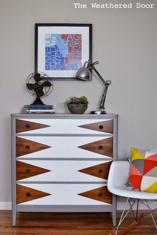 Mod Triangle Dresser Makeover   Painted furniture ideas   Girlfriend is Better