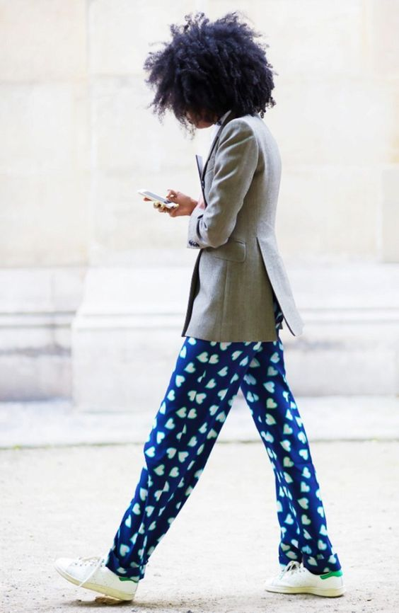 Wear the bottoms of your pajamas with a blazer | Girlfriend is Better