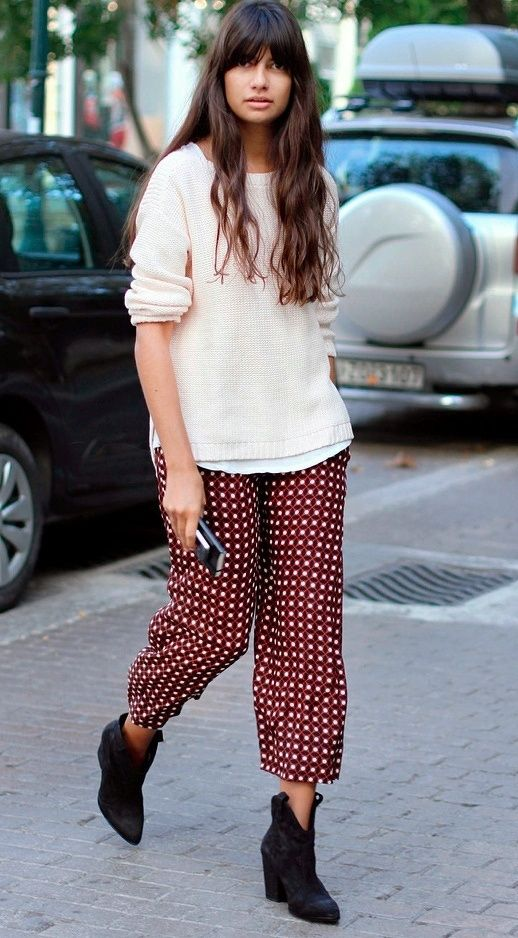 Pair cropped pajamas with ankle boots | Girlfriend is Better