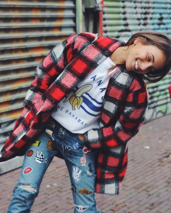 Plaid coat + jeans + patches   Girlfriend is Better