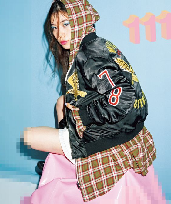 Plaid hoodie with bomber jacket + patches   Girlfriend is Better
