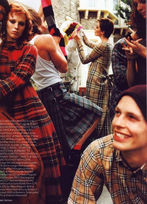 Mario Testino for Vogue UK, 1999   Plaid fashion   Girlfriend is Better