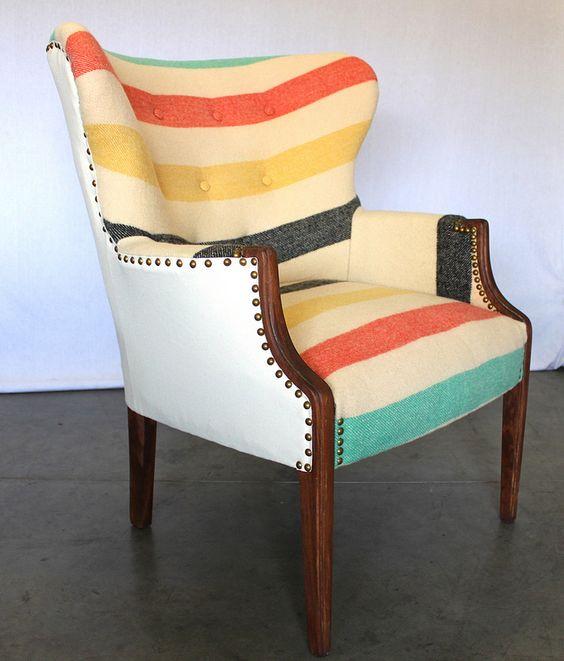 Reupholstering furniture | Vintage Wing Back Chair Tufted Pendleton Hudsons Bay Blanket | Girlfriend is Better