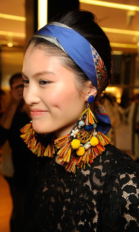 Statement earrings with pom poms + tassles | Dolce & Gabbana Women Fashion Show Backstage Gallery – Spring Summer 2013 | Girlfriend is Better