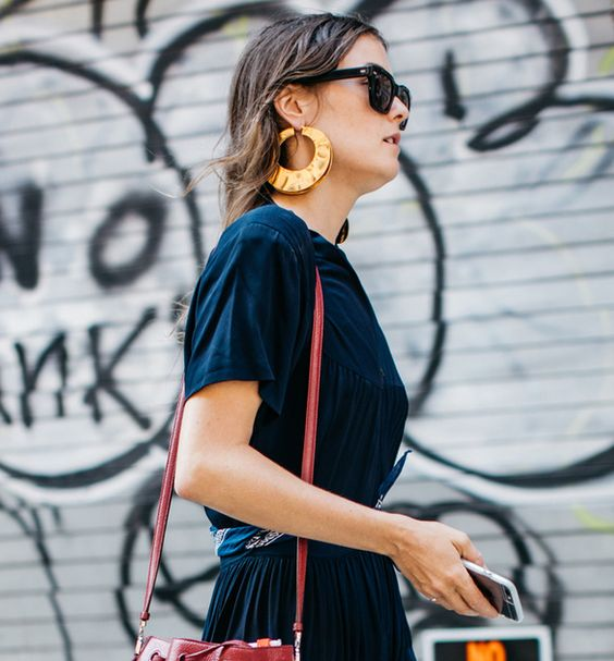 Gold hoops update a casual outfit | Statement earrings | Girlfriend is Better