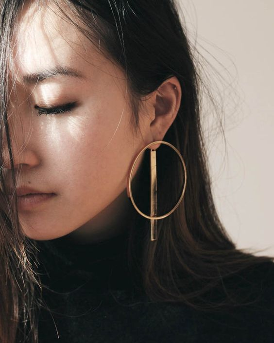 Large gold hoop and bar | Statement earrings | Girlfriend is Better