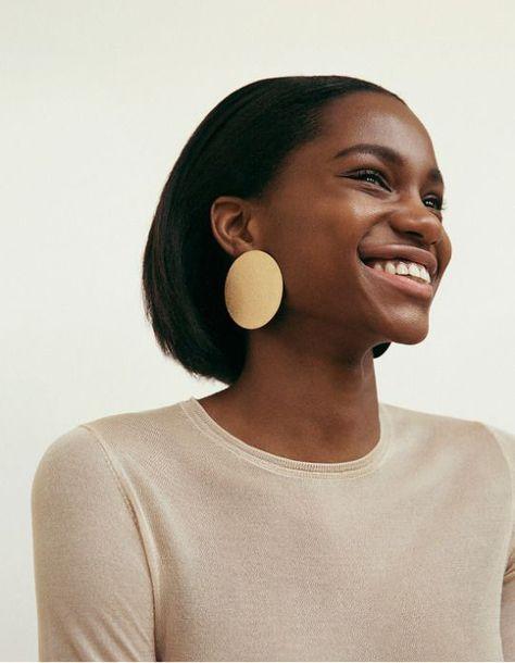 Gold disc statement earrings | Girlfriend is Better