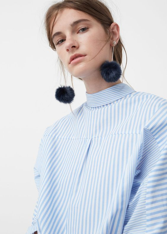 Dress up an oxford with pom pom statement earrings | Girlfriend is Better