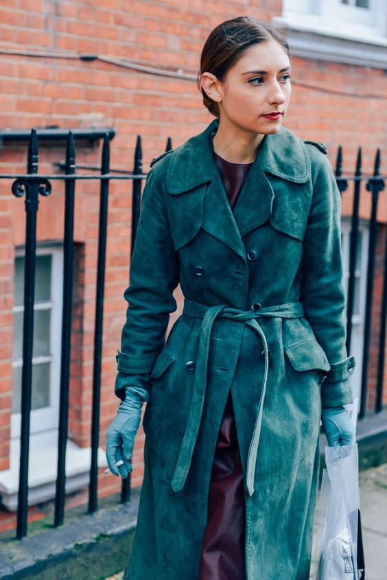 Suede pea coat in jewel tones   Girlfriend is Better