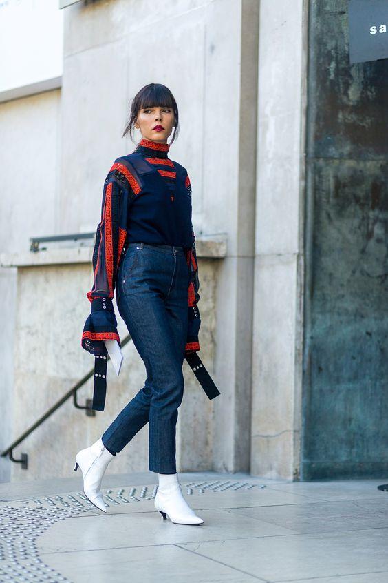 White kitten heel ankle boots | Paris Fashion Week | Girlfriend is Better