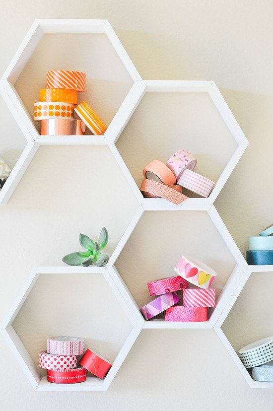Hexagon shelving to organize a work space creatively | Girlfriend is Better