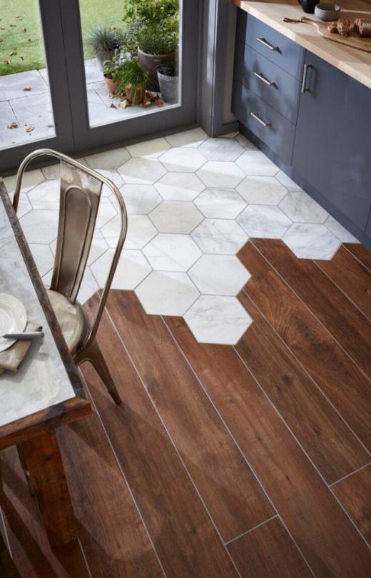 Tile in hexagons break up the monotony of a wood floor | Girlfriend is Better