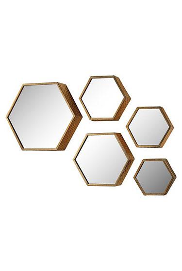 Lazy Susan Set of 5 Hexagonal Gold Mirrors | Target