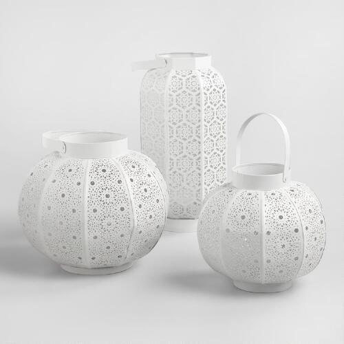 White Metal Filigree Tabletop Lantern   Cost Plus World Market