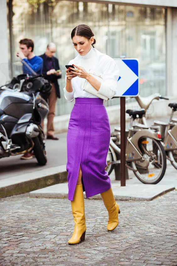 Purple skirt works perfect with yellow boots   Spring fashion   Girlfriend is Better